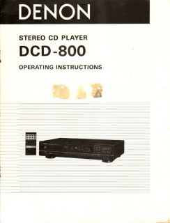 Denon Original DCD 800 CD Player Owners Manual