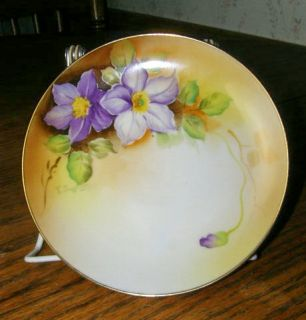 Nippon Hand Painted Purple Clematis Decorative Plate