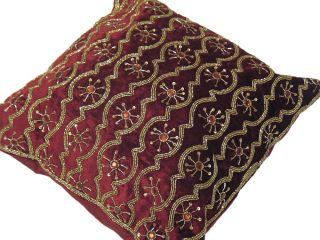 Burgundy Velvet Indian Pillow Interior Decor Decorative Throw Accent