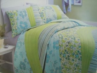 Roxy Dede Twin Floral Stripe Quilt Sham Set Aqua Green