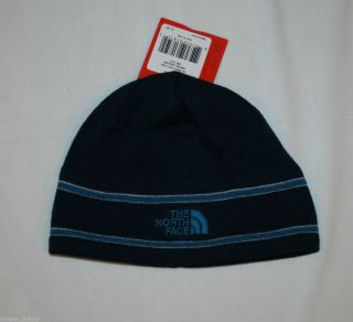 THE NORTH FACE LOGO BEANIE CAP DEEPWATER BLUE NWT ONE SIZE UNISEX