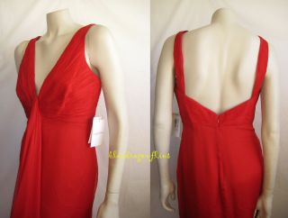 Heartbreaking Valentino Ruched Red Silk Chiffon Gown Dress