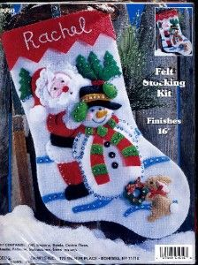 Christmas Felt Stocking Kit Santa Making Snowman Bunny