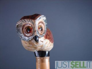 pre owned hand carved wood owl cane walking stick owl carving measures