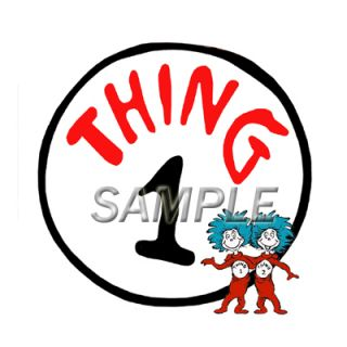 Thing 1 2 3 4 T Shirt Iron on Transfer 4 Designs