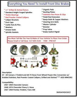 Front Disc Brake Conversion Kit Red Calipers 67 69 Camaro Firebird 68