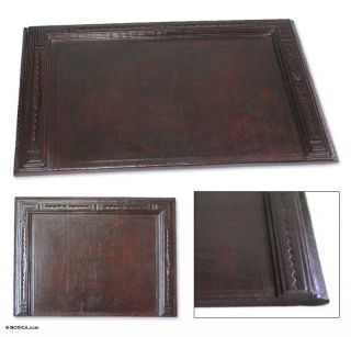 Legacy Artisan Made Wood Black Tooled Leather Desk Pad