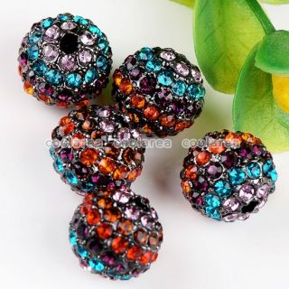 14 Color 5pc Crystal Rhinestone Loose Disco Ball Beads for Macrame
