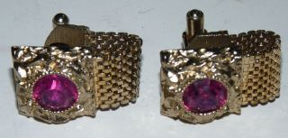 Vintage Swank Men Jewelry Cufflinks Pink Stones Gold Metal