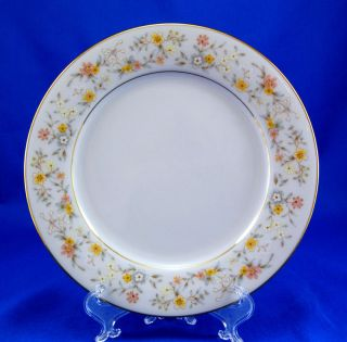 "Noritake DELEVAN #2580 Salad Plate 8.25"" Blue Yellow White Flowers"