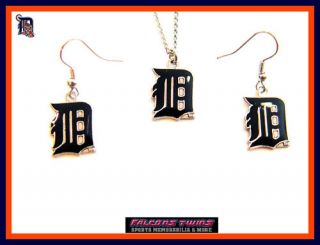 Detroit Tigers Necklace Dangle Earring Set Charm Gift