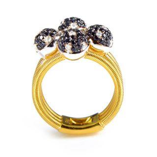 Della Riva 18K Yellow Gold Multi Diamond Spheres Ring