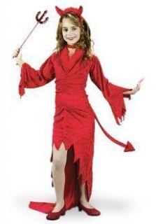 Friendly Devil Long Velvet Red Dress Halloween Costume Girls
