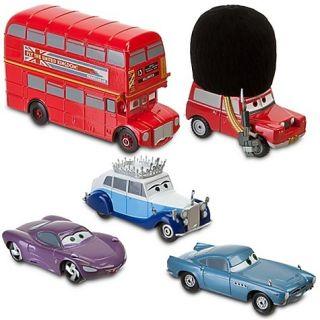 DISNEY CARS 2 LONDON CALLING DIECAST SET THE QUEEN SGT HIGHGEAR BUS