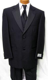 Brand New Mens Devin Michaels Black 2 Button Notch Tuxedo Wedding Prom