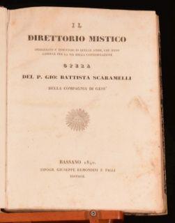 1840 IL Direttorio Mistico Mystical Directory Scaramelli in Italian