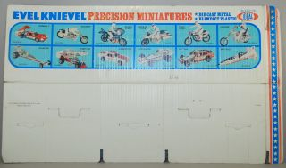 Evel Knievel 1977 Ideal Die Cast Set of 12 STORE DISPLAY Card