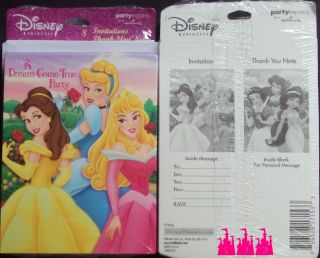 lot of 2 pks Disney Princess 8PC Party Invitations 8PC Thank You Notes