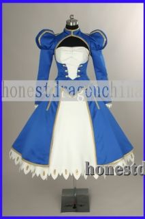 Fate Stay Night Saber Cosplay Costume Blue Dress Custom
