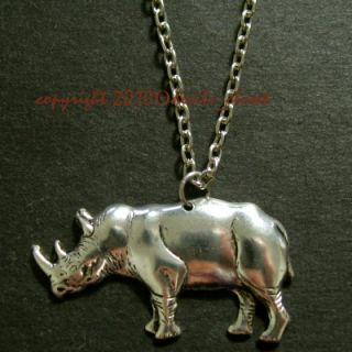 Vintage ISP Rhino Antiqued Silver Tone Brass Necklace