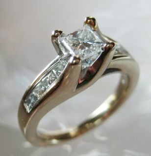 Princess Cut Diamond .50ct center (1tcw) 14K White Gold Ring