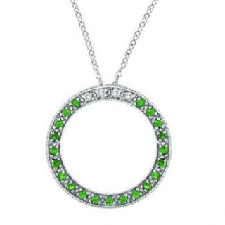 25ct Fancy Diamond and Green Emerald Circle Pendant Necklace 14k