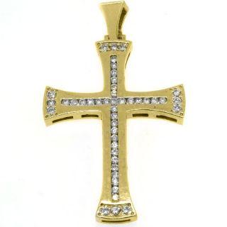 Mens Diamond Cross Pendant 14kt Yellow Gold Brilliant Round Diamonds 1