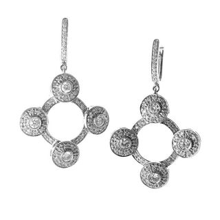 Unique 18K White Gold Diamond Drop Earrings