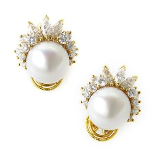 18K Yellow Gold Diamond Pearl Earrings