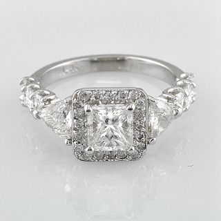Diamond Engagement Ring 2 93 Ct Princess Cut 18K White Gold Exclusive