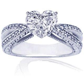 EGL Certified Natural White Heart Diamond Ring Anniversary 18K