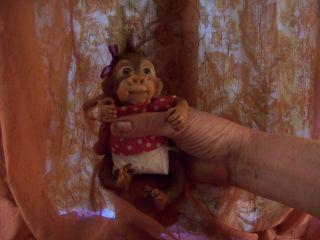 OOAK Baby Polymer Clay Partial Sculpt Cute Orangutan Baby Girl