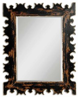 Distressed Carved Black Gold Mango Wood Mantel Mirror