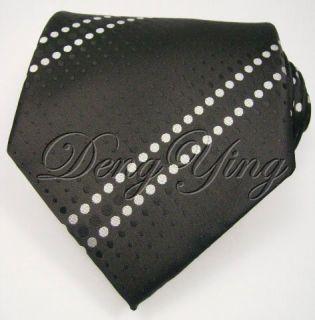 DENG YING New Pattern Black White Jacquard Woven Mens 100% Silk Ties