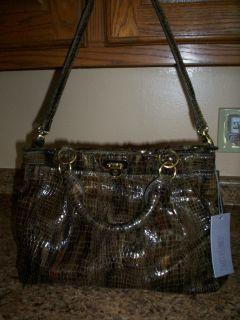 JLO Jennifer Lopez Denise satchel faux croc Olive multi handbag NWT $