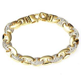 20ct Mens Diamond Handmade Link Bracelet 14K Yellow Gold 53.9g