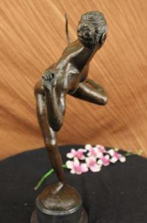Signed Pierre Le Faguays Bronze Art Deco Statue Diane