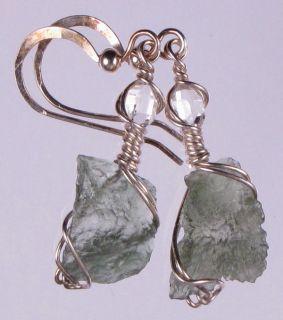 MOLDAVITE & HERKIMER DIAMOND QUARTZ CRYSTAL ARGENTIUM STERLING SILVER