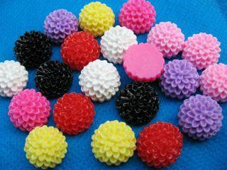 35 Resin 15mm Flower Flatback Button Cabochon 7 Colors