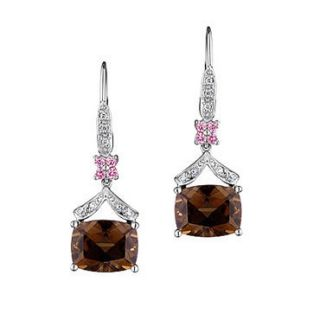 White Gold Smoky Quartz Pink Sapphire and Diamond Drop Earrings