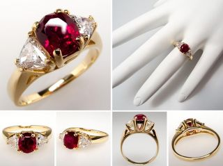 Natural Ruby & Triangle Diamond Engagement Ring Solid 14K Gold Estate
