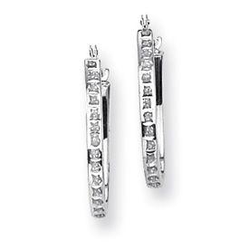 14k White Gold Oval Hinged Diamond 1 2 Hoop Earrings