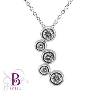 Natural Round Diamond Journey Pendant Necklace 18K White Gold