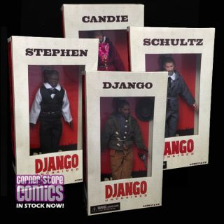 Django Unchained Set of 4 Mego Style Dolls NECA Action Figures in