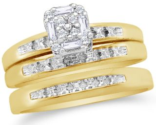 10K Two Tone Gold Diamond His Hers Trio 3 Ring Set 1 10 cttw G H SI2