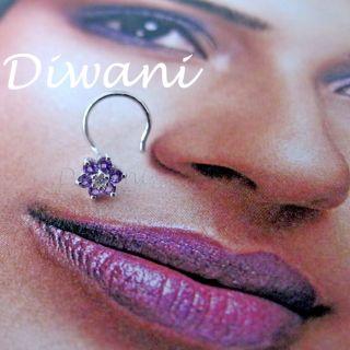 Real Amethyst & Diamond Flower 14k Gold Engagement Nose Piercing Ring