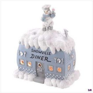 Snowbuddies Light Up Snowville Diner Christmas Village Decor