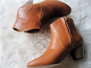 Isabel Marant Dicker Caramel Cognac Brown Calfskin Leather Boots 39