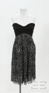 DVF Diane Von Furstenberg Black & Grey Leopard Silk Dress Size 12