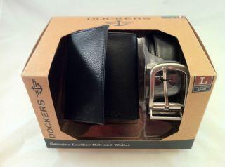 Dockers Genuine Leather Trifold Wallet & Matching 38 40Belt Black